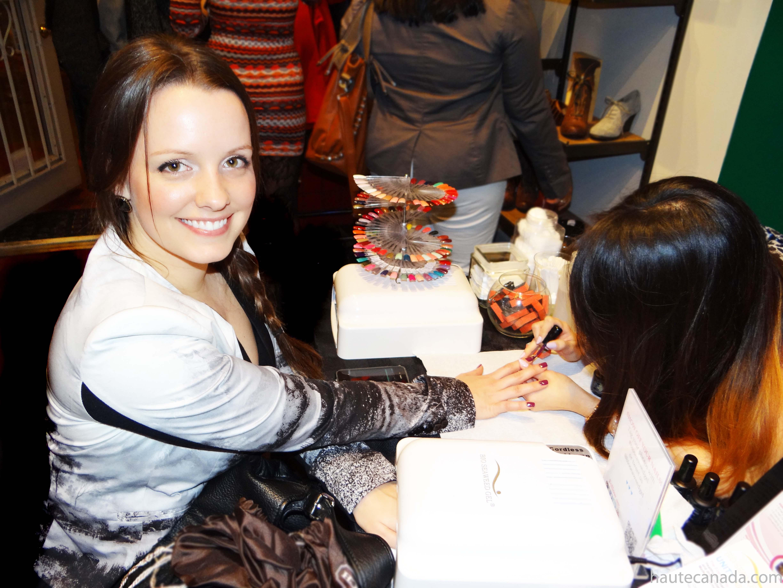 Victoria Simpson getting her nails done by Linda of Bio Seaweed Gel