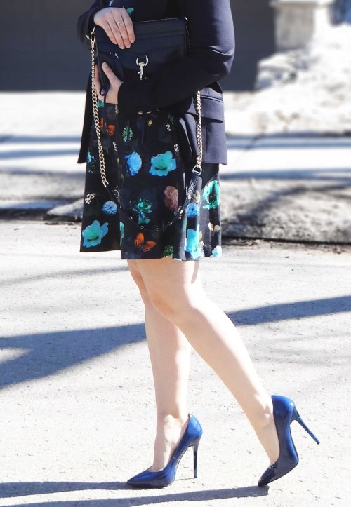 Floral-Dress-Navy-Blue-Heels-Handbag-Blazer