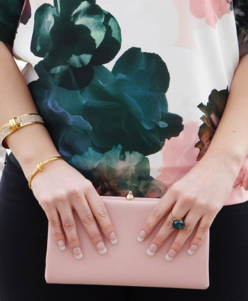 Floral-Shirt-Pink-Clutch-Gold-Bangles-Emerald-Ring