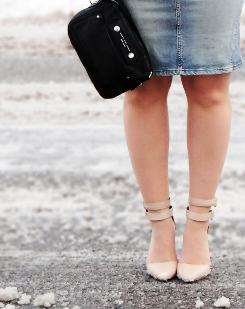 Nude-Ankle-Strap-Heels-Denim-skirt