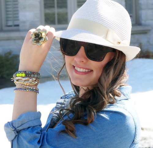 Sunglasses-Fedora-Hat-Flower-Ring-Arm-Party-Denim